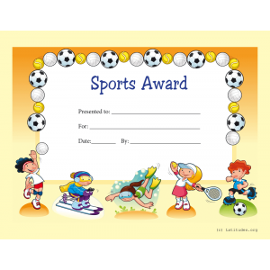 Primary Sports Award Certificate (Fillable)