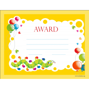 Primary Worm Award Certificate