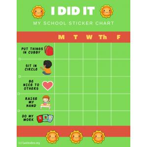 Smiley I Did It Weekly PreK Behavior Chart