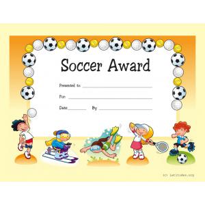Soccer Award Certificate (Fillable)