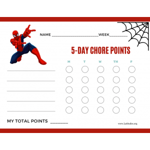 Spiderman 5-Day Points Chore Chart