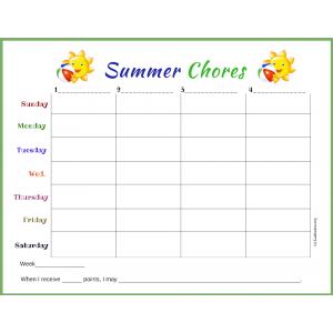 Summer Chores Chart