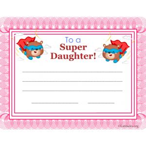 Super Daughter Certificate (Fillable)
