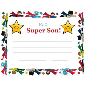 Super Son Certificate (Fillable)