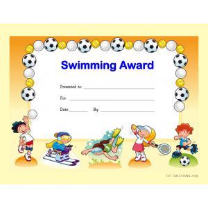 Swimming Award Certificate (Fillable)