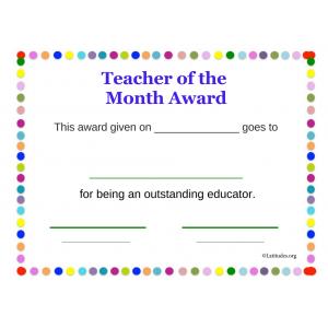 Teacher of the Month Award Dots