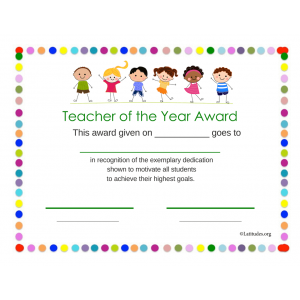 Teacher of the Year Award Primary Dots (Fillable)