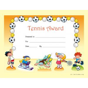 Tennis Award Certificate (Fillable)