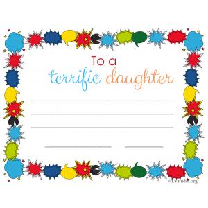 Terrific Daughter Certificate