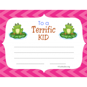 Terrific Kid Certificate Frog Blank (Fillable)