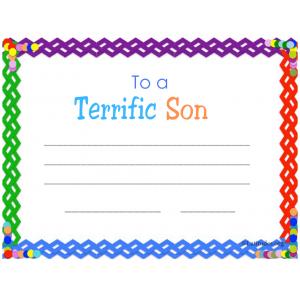 Terrific Son Certificate
