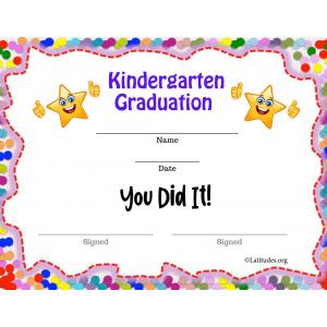 Thumbs Up Kindergarten Graduation Certificate