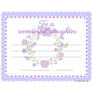 Wonderful Daughter Flowers Certificate